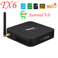 Android 9.0 Tanix TX6 Smart TV Box Allwinner H6 4GB 32GB 64GB Support 2.4G/5GHz WiFi BT4.1 4K H.265 Bluetooth 4.0 Set Top Box