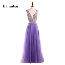 Baijinbai Long Purple Evening Dress 2017 Robe De Soiree V Neck Sequins Beading Luxury Tiered Formal New Year Dresses
