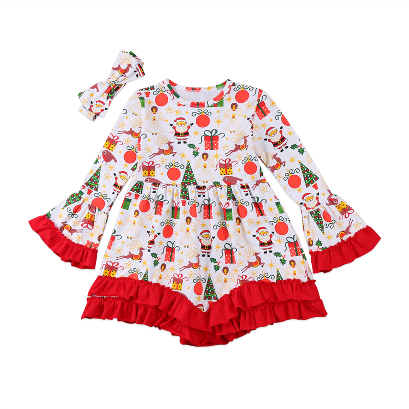2 7t baby girls christmas dresses 2pcs kids xmas dress for girls baby girl dressheadband 2017 vestido christmas costume clothes - Girl Christmas Dresses
