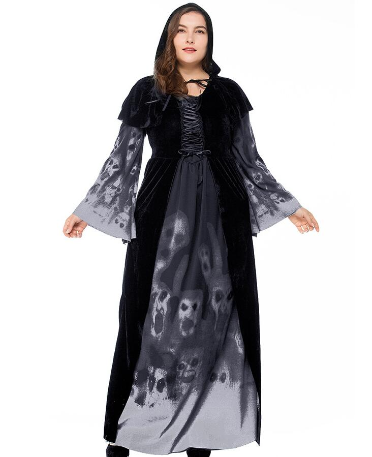 plus size Halloween skeleton print witch long vampire suit large size queen costume black long sleeve A002