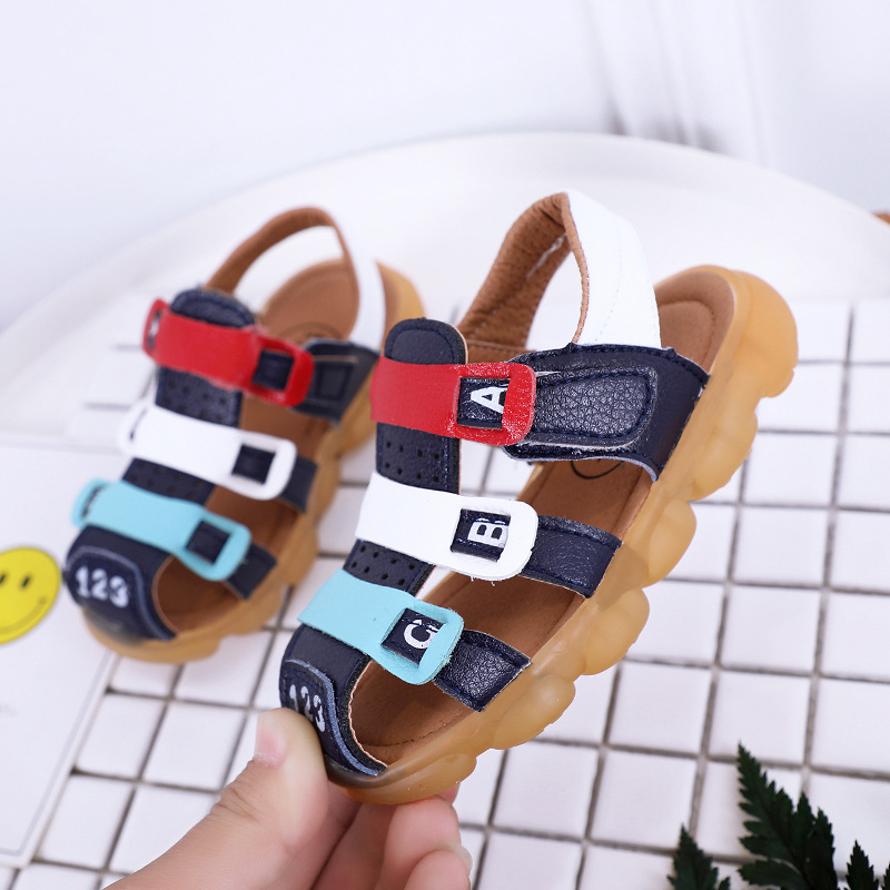 Children LED light Shoes PU Leather for boys Sandals Cow Muscle toddler boy shoes kids casual comfortable summer beach sandals