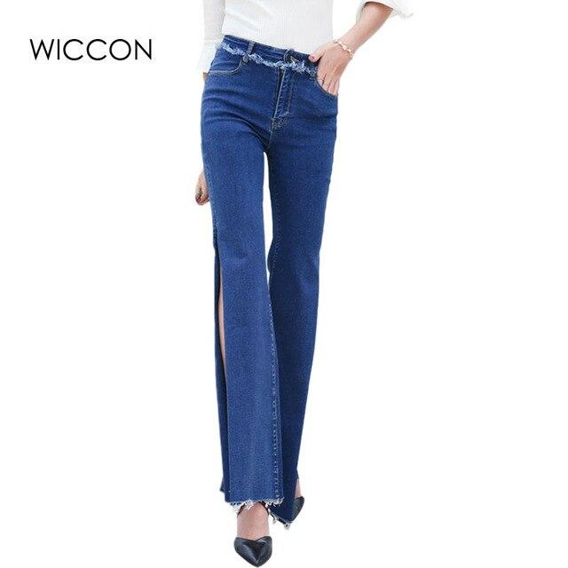 dff5c37bf9d 2019 осень персонализированные Для женщин с боковыми джинсы Высокая Талия  крутые джинсовые Широкие штаны брюки джинсы
