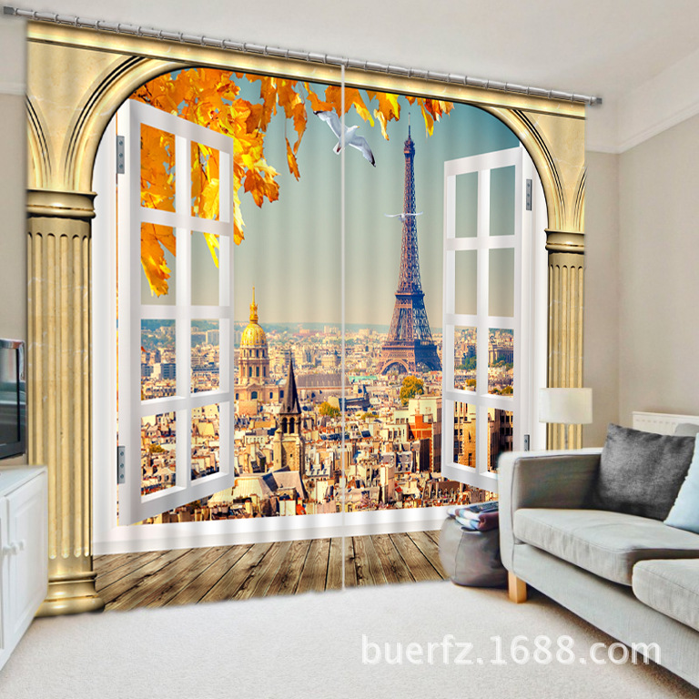 Eiffel tower luxury 3d blackout window curtains for living for Living room quilt