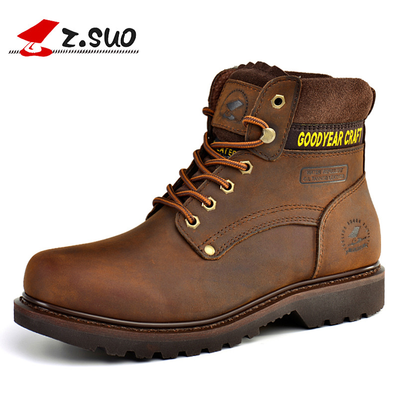 Keep Warm Autumn Winter Leather Boots Casual Rubber Lace-Up Flat With Martin Boots Mens Outdoor Shoes For Male SG084