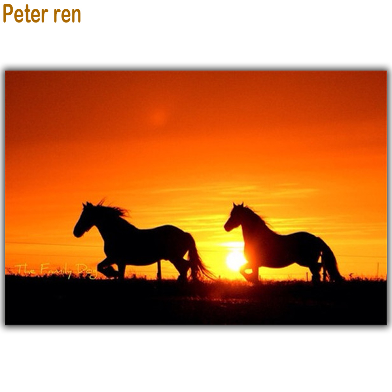 Peter ren DIY Diamond painting A picture of rhinestones 5d Round  Square drill Mosaic Full Canvas for embroidery Horse sunset