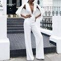 Bqueen 2017 Новый Твердый Белый Глубокий V Sexy Women Комбинезон Осень Мыс Рукав брючный костюм Мода