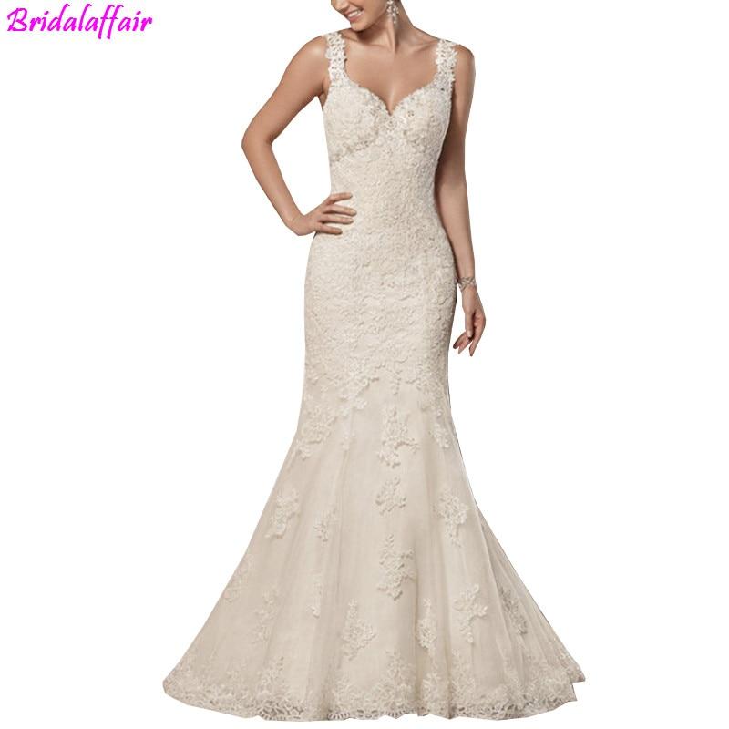 V Neck Backless Elegant Mermaid Wedding Dresses 2019  Plus Size Court Train Beading Bridal