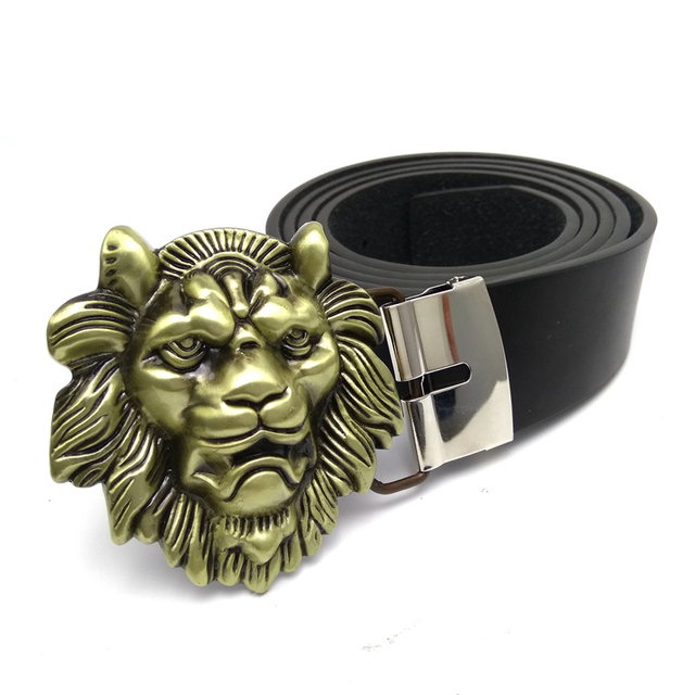cd49bc60ce Mens big buckle belts with 3D lion head belt buckle metal cinto masculino Black  PU leather belt 51 inch length plus size