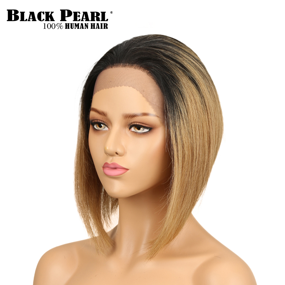 Black Pearl Straight Bob Wig Brazilian Remy Hair Lace Front Human Hair Wigs Blonde Short Wigs