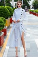 New 2018 Fashion Runway Designer Autumn Dress Women's Long Sleeve Vintage Black Dot White Long Dresses High Quality Turtleneck
