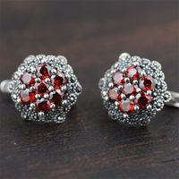 GAGAFEEL Retro 100 Real 925 Sterling Silver Jewelry Red Garnet Elegant Stud Earrings For Women Lover