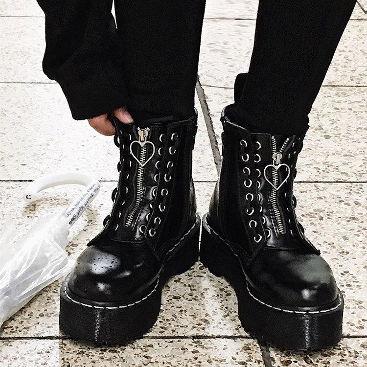 Plate-forme bottes punk femmes en cuir cheville bottes bout rond zip court bottes avant zipper vache garçon moto bottes en cuir martin