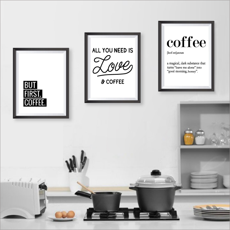 Kitchen Wall Painting Designs: Coffee Prints And Poster Kitchen Wall Art Home Decor