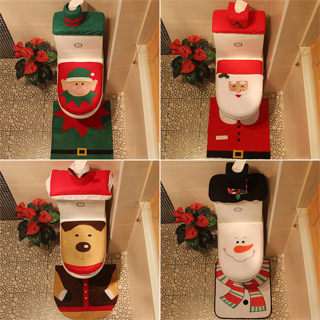 Olayer 3 in 1 Universal Santa Toilet Seat Cover And Bathroom Rugs ...