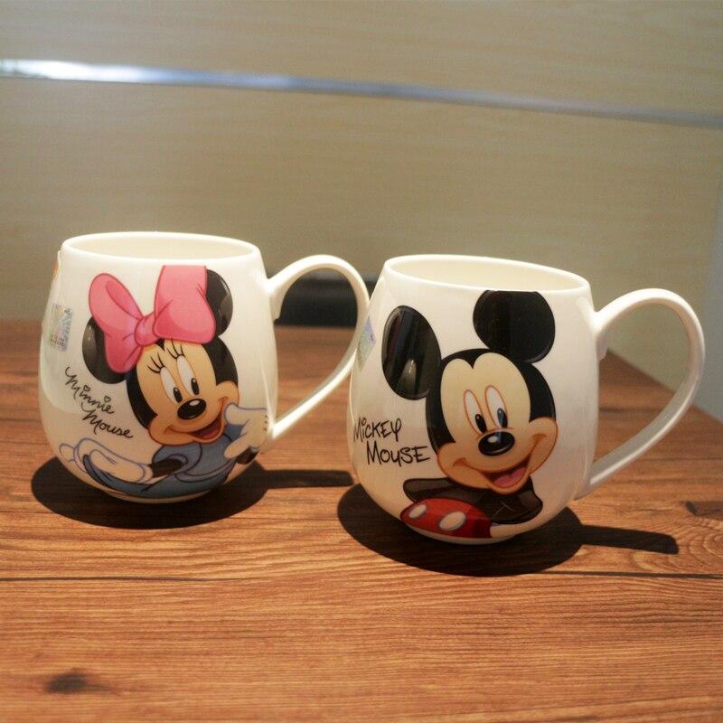 300 ML-400 ML Kinder Wasser Becher Tasse Cartoon Wasser Trinken Tassen Jungen Mädchen Büro Hause Becher Mickey und minnie Maus Keramik Tasse