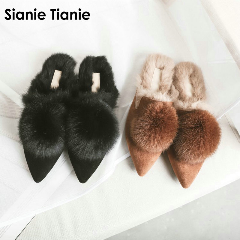 Sianie Tianie 2018 winter genuine leather suede woman winter shoes real rabbit fur slippers with fur pompom fur mules size 43