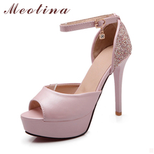 Women Shoes Pumps Peep Toe Ankle Strap Party Platform Stiletto High Heels Female Glitter Pink Shoes Large Size 9