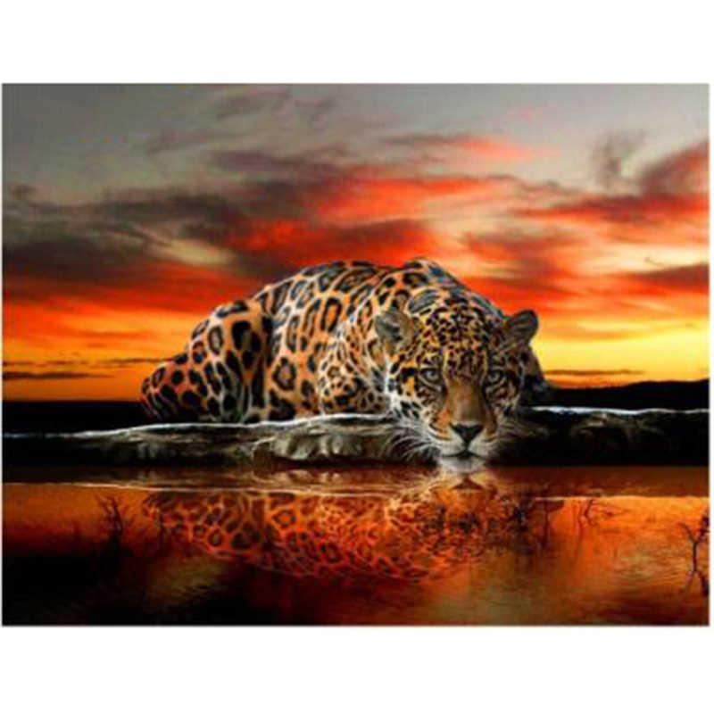 Diy Алмазный леопардовый узор вышивка крестиком Алмазный рисунок Животные вышивка бисером картина с узорами страз