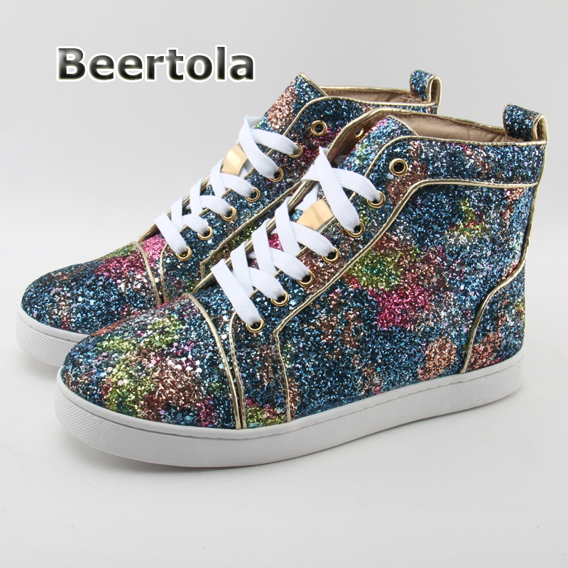 Beertola Brand Name Glitter Shoes Men Fashion Street Style Men Casual Shoes  Lace Up High Top Sneakers Rubber Sole Men Sneakers -in Men s Casual Shoes  from ... 89794ab75298