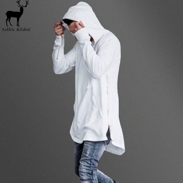 Aelfric Eden Men Hoodie Side Zipper Irregular Longline Hip Hop Kanye West Sweatshirt British Style Fashion Men Extended Hoodies