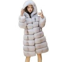 Lisa Colly Women Faux Fur Coat jacket Long Faux Fox Fur Coat Overcoat Winter Artifical Fur Coat With Hooded Thick Furs Coat