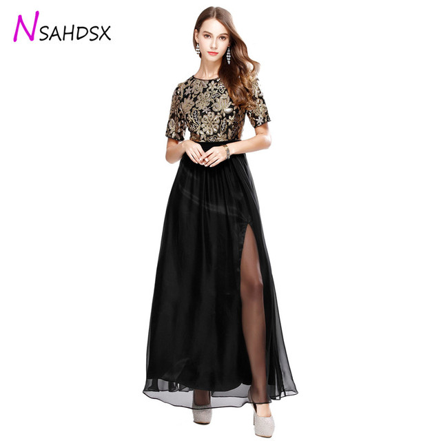 2019 dress Women Dress Embroidered New Sequins Chiffon Patchwork Evening Party Dress Wedding O-neck Short Sleeve A-line Female
