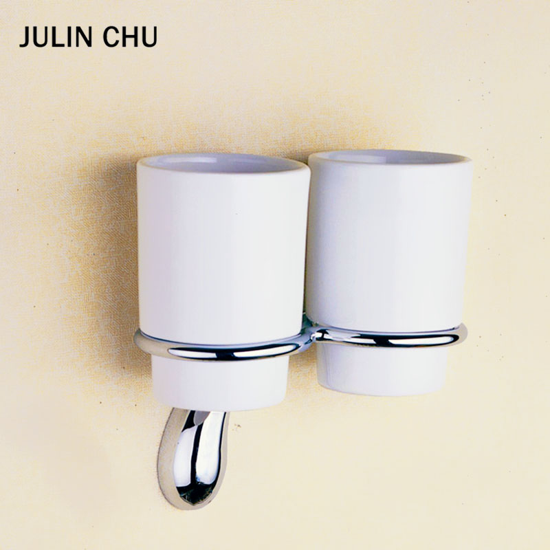 Wall Mounted Toothbrush Holder Brass Bathroom Storage Ceramic Cup Shelf Chrome Double Toothpaste Rack Kitchen Tumbler Holders image