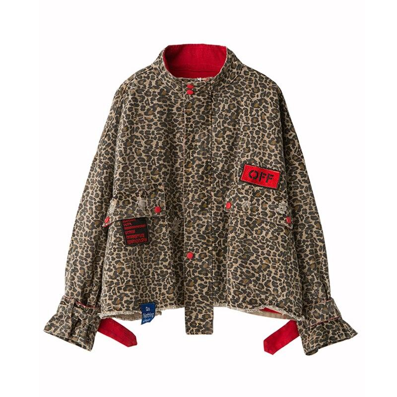 Nowy Leopard Jean kurtka Plus rozmiar kobiet kurtka z długim rękawem podstawowe kurtki dla kobiet Harajuku wiosna kurtka dżinsowa codzienna odzież wierzchnia w Podstawowe kurtki od Odzież damska na  Grupa 1
