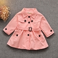 Spring Baby Girls Long Sleeve Lapel Collar Trench Coat Kids Jacket Outerwear Children's Clothes casaco roupas de bebe