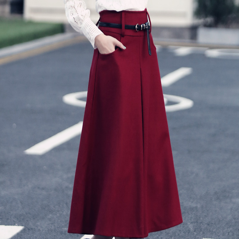 New Winter Thicken Women Woolen Maxi Skirt High Waist Jupe Autumn Long Skirt Faldas Wool Maxi Skirt Saia Longa Large Size C2617 inc beach new purple white tie dye women s size medium m pull on maxi skirt $69
