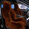 Envío Libre Largo de Lana Cojines De Asiento De Coche Universal de piel de Oveja de Piel todo el Invierno Caliente Suave Auto Seat Covers 4 unids Establece 12 Color