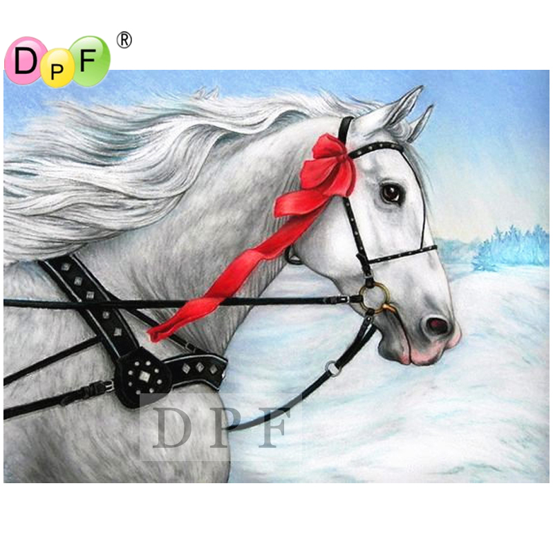 DPF diamond embroidery white of horse 5D diamond painting cross stitch diamond mosaic kit rhinestone full square diamond crafts