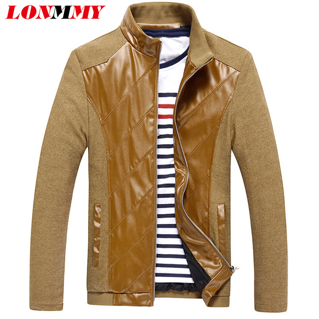 LONMMY M-5XL Patchwork Leather jacket men Suede jaqueta mens leather jackets and coats Slim casual coat men PU Twill Casual 2016
