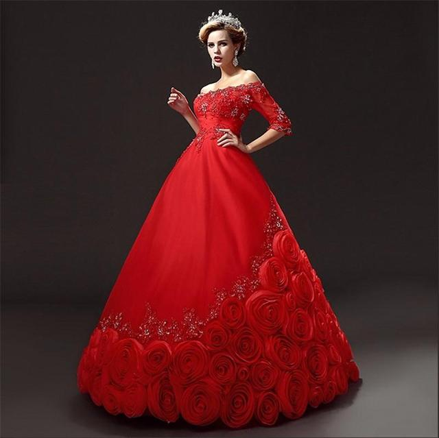Romantic Custom Made White Red Wedding Dresses 2017 New Arrival A Line Chapel Train With Sleeves