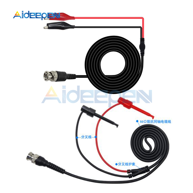 P1007 P1011 BNC Q9 Male Plug To Dual Hook Clip Probe Cable Leads With Two Mini Probes 500V Test Hook Oscilloscope Accessories