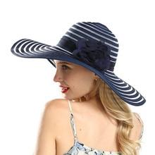 Elegant Sun Hat for Women Summer Large Brim Beach Caps Girls Fashion Sun Hats uv Protect Flower Patchwork Top hat все цены