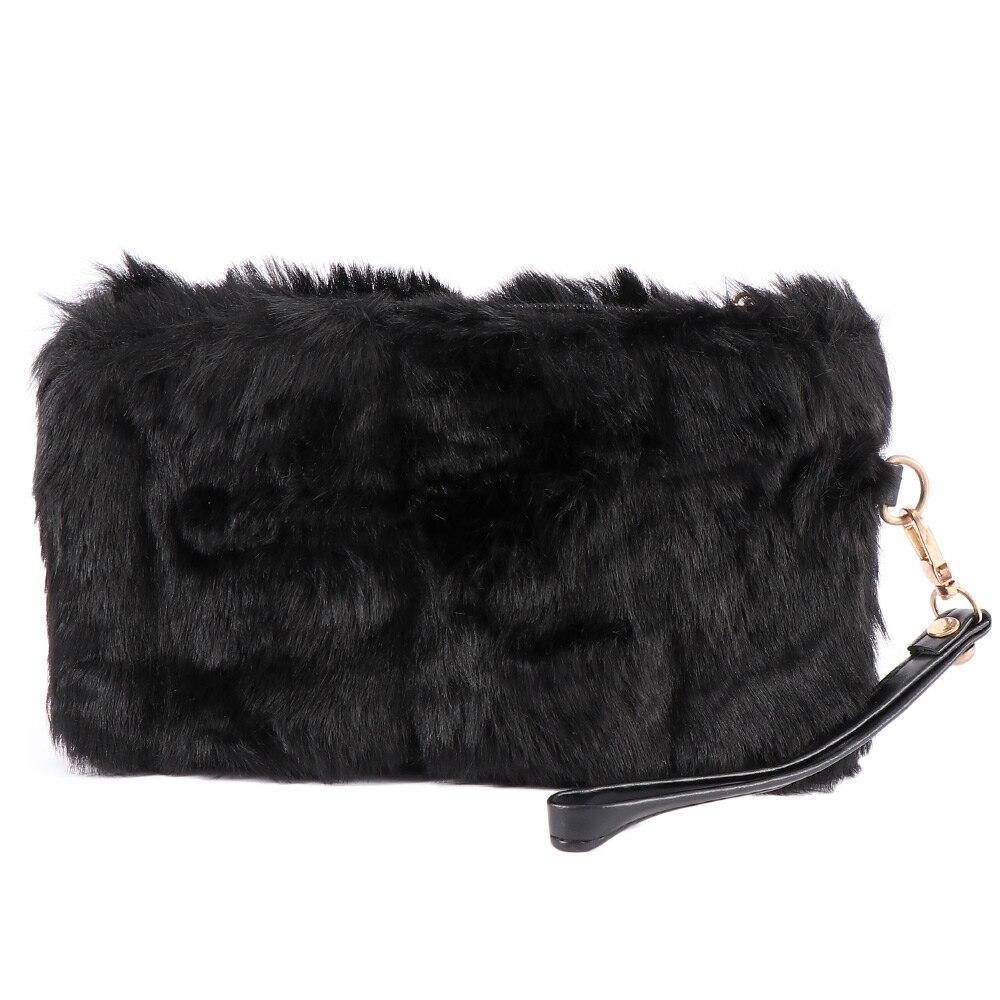 Women Elegant Clutch Bag Faux Fur Handbag Wallet Candy Color Clutch Holiday Gift