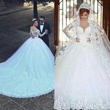 2020 Vestido De Noiva uzun kollu dantel V boyun düğün elbisesi Modern arapça zarif gelin kıyafeti gerçek resimler ile