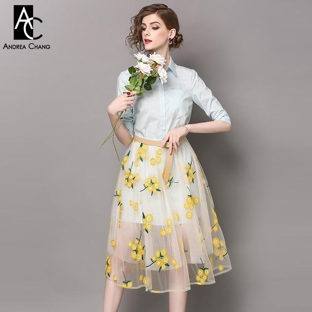 e6ad4b3dcbe spring summer runway designer womans dress set sky blue shirt dress with  belt calf length gauze dress yellow flower embroidery