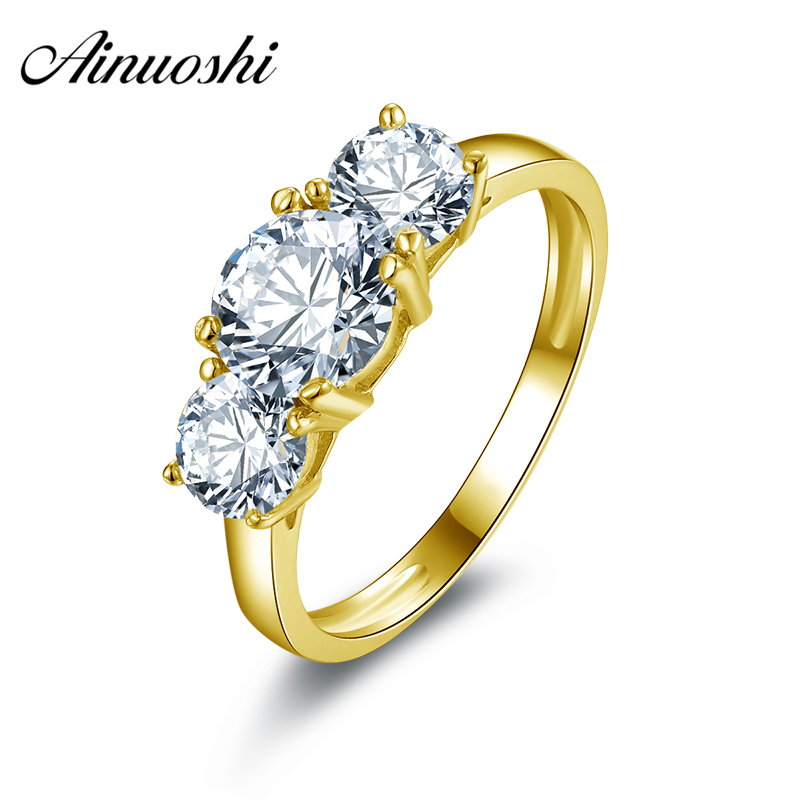 AINUOSHI Classic 3 Stones Round Rings 14K Solid White or Yellow Gold Band Brilliant Simulated Diamond