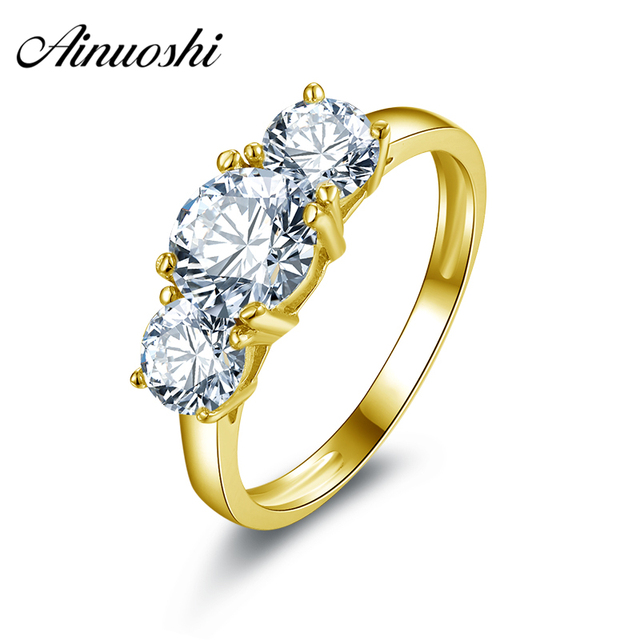 AINUOSHI 10k Solid Yellow Gold Band Ring 3 Stones Forever