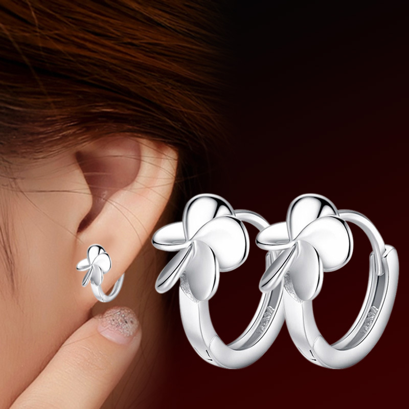 100 925 sterling silver new fashion flowers stud earrings for women jewelry wholesale Christmas gift drop shipping cheap in Stud Earrings from Jewelry Accessories