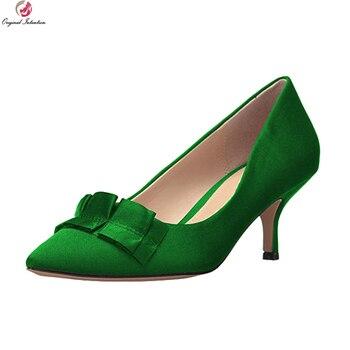Original Intention Elegant Women Pumps Pointed Toe Thin Heels Pumps Black Blue Green Red Purple Shoes Woman Plus US Size 4-15