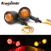Nuoxintr Motorcycle bullet Light Diamond Lens LED Turn Signal Indicator taillight lamp For Harley Sportster Bobber Chopper