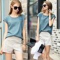 Весна лето женщины одежда комплект лён без орнамента блузка топы + короткая брюки