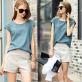 New Spring Summer  Fashion Women Clothing Set Linen Plain Blouse Tops + Short Pants