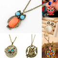 Sunshine Fashion Vintage Lovely Owl Pendant Necklace Colorful Rhinestone Studded Long Necklace Fine Jewelry For Women Lady