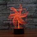 7 cores Atmosfera de Férias Iluminação Decorativa Big Pinwheel Gadget Início Mesa NightLight Lâmpada 3D