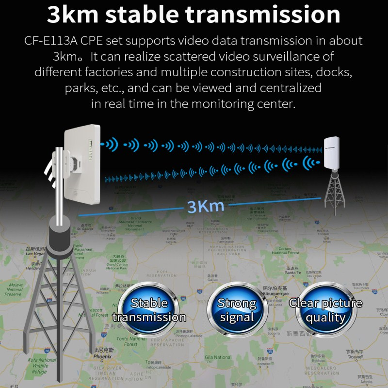 2pcs 3km Comfast CF-E113A Outdoor mini CPE Wifi Repeater 5GHz 300Mbps Wireless Wifi Router Extender Bridge Nano station antenna image
