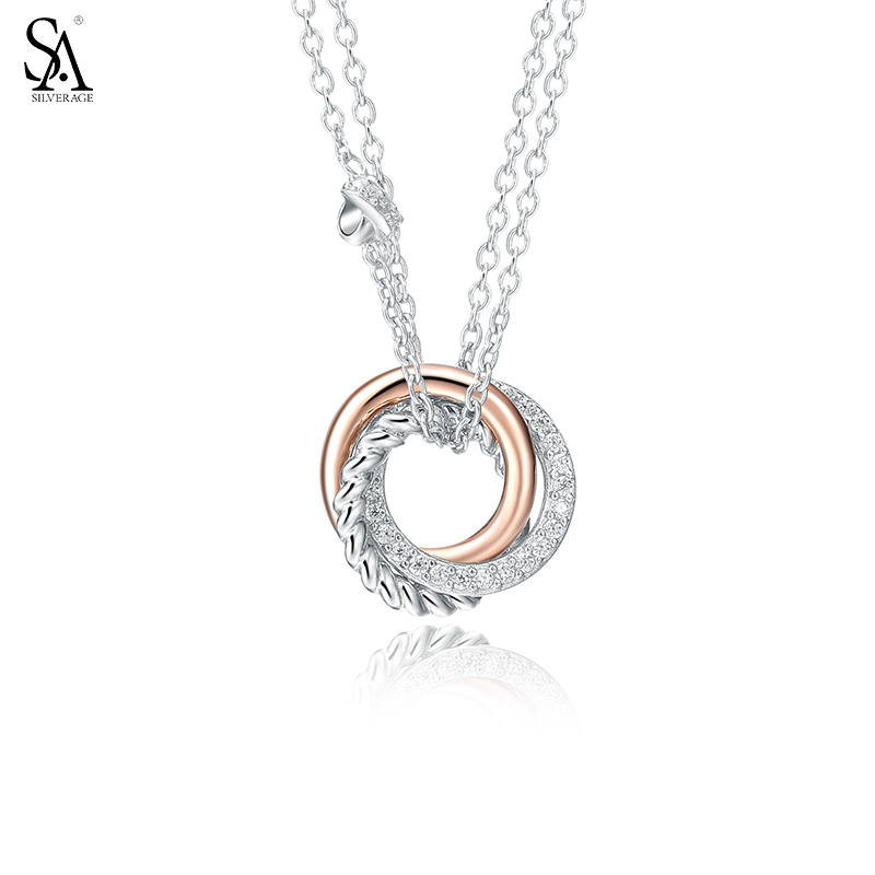 SILVERAGE Real 925 Sterling Silver Necklace Trendy Geometric Circle Necklaces & Pendants Cubic Zirconia Knot Women Necklace geometric pattern knot tankini set